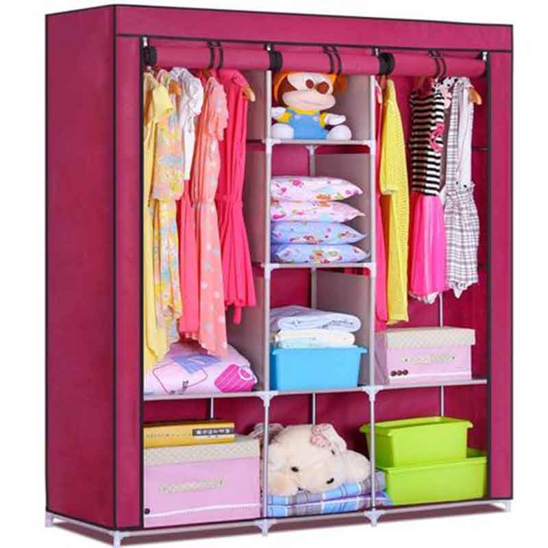 3 DOOR PORTABLE FOLDING WARDROBE CUPBOARD