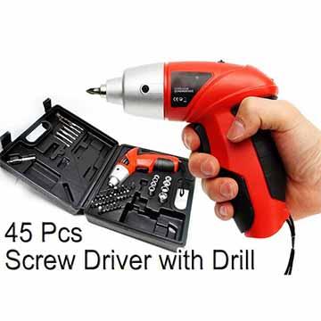 45pcs Cordless Rechargeable Screwdriver Set
